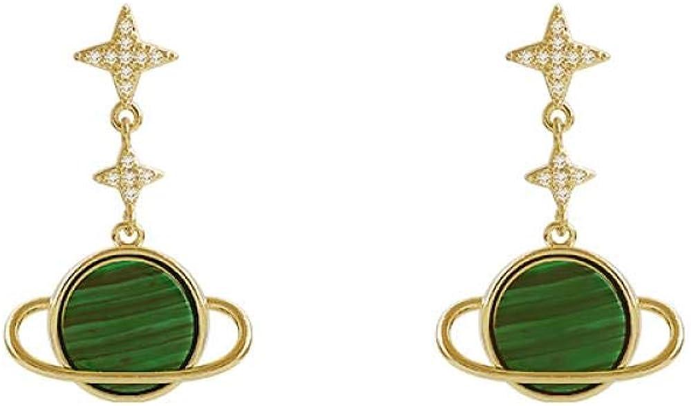 Pendientes de diamantes de microconjunto de lujo ligero, universo de exploración interestelar, malaquita verde de alta calidad, pendientes de plata s925