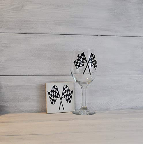 Drink Coaster and Wine Glass, Gift Set, Sports Gift, Racing Decor, Checkered Flags Wine Glasss, Gift for Race Fan, Nascar Gift, Racing Gift ()