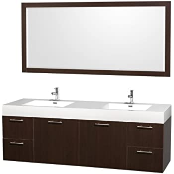 Wyndham collection amare 72 inch double bathroom vanity in espresso with acrylic resin top for 70 inch double bathroom vanity