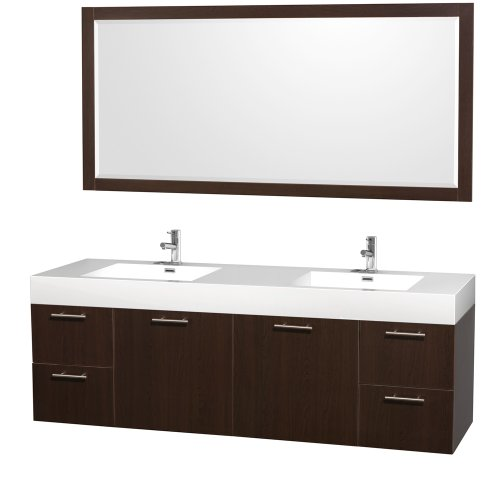 Modern Espresso Bathroom Vanity (Wyndham Collection Amare 72 inch Double Bathroom Vanity in Espresso with Acrylic Resin Top, Integrated Sinks, and 70 inch Mirror)