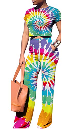 Women Colorful O-Neck Short Sleeve Crop Tops High Wairst Flare Long Pants Jumpers 2 Piece Outfits