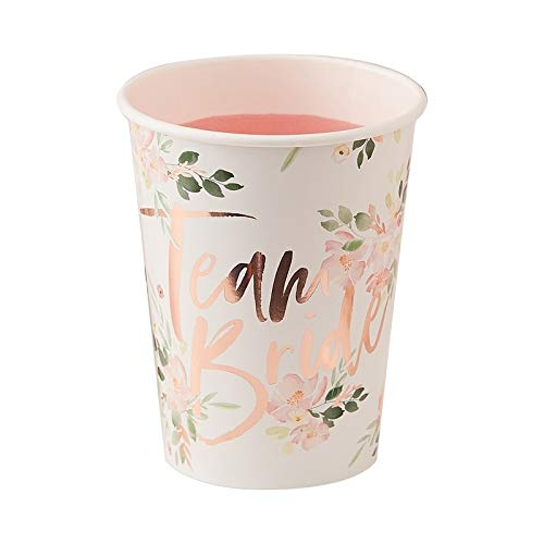 Bridal Shower Cups Bachelorette Party Cups Paper Cups Disposable Cups Rose Gold Party Decorations Pink Floral 9oz Cups Pack of 16