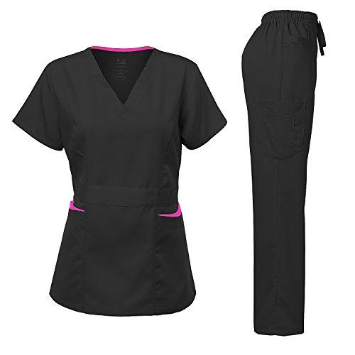 Medical Uniform Women's Scrubs Set Stretch Contrast pocket Black M (Contrast Stretch Scrub Top)