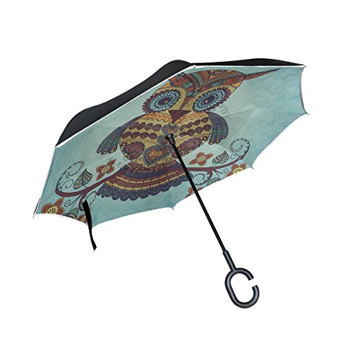 THENAHOME Reverse Inverted Auto Open Umbrella Compact Lightweight Straight Umbrellas with Art Owl for Car & Outdoor