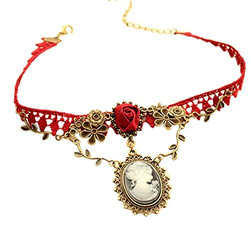 sameno 2018 Fashion Girl Women Stylish Cameo Red Rose Lace Necklace Jewelry Women Gift Xmas Pendant New