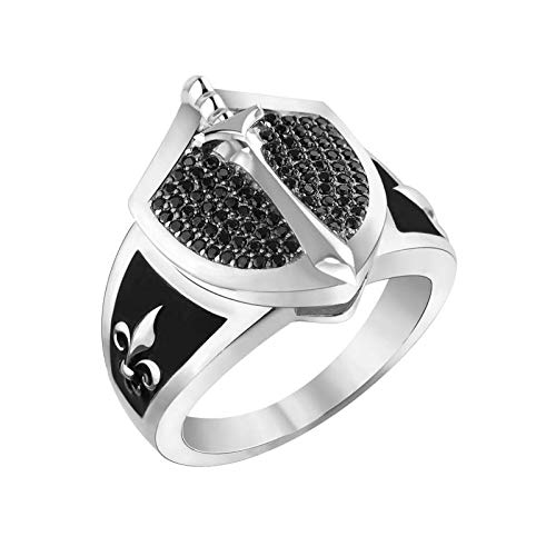 Silver Smile Solid Sterling Silver Sword & Shield Emblem Ring with Black Spinel and Black Enamel, Men's Ring Collection