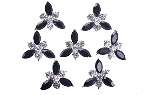 KAOYOO 10Pcs 21MM Crystal Rhinestone Buttons with Silver Plated Brass Base(Clear and Black)