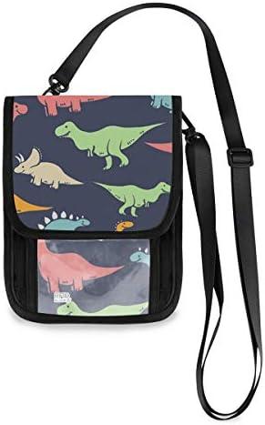 トラベルウォレット ミニ ネックポーチトラベルポーチ ポータブル 恐龍 小さな財布 斜めのパッケージ 首ひも調節可能 ネックポーチ スキミング防止 男女兼用 トラベルポーチ カードケース