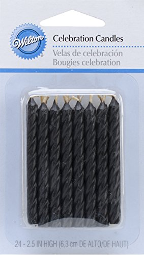 Wilton W2811224 Birthday Candles, 2.5-Inch, Black, 24-Pack