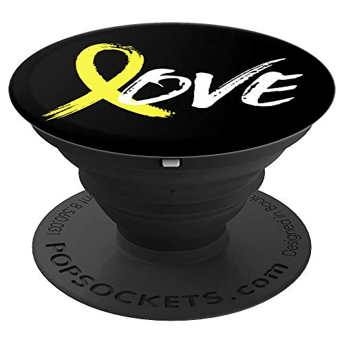 Spina Bifida Yellow Ribbon White Black Background - PopSockets Grip and Stand for Phones and Tablets