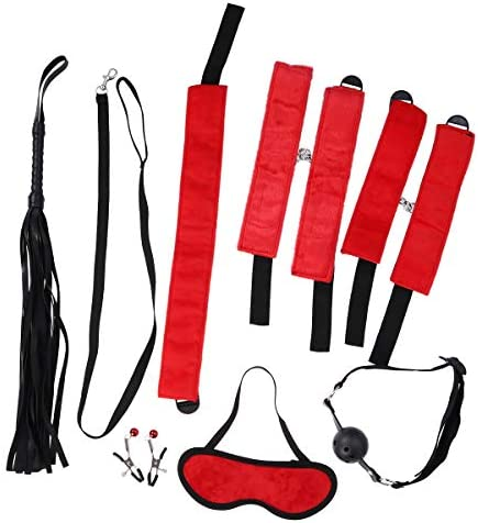 Healifty 8 stücke Bondage Fesseln Bett Fesseln handschellen handgelenk und knöchel fesseln mundknebel ball feder tickler Brustwarzenklemmen leder peitsche augenbinde set (schwarz)
