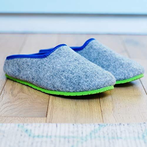 Pantoufles mixte vert Clair Chaussons Adulte bleu Gris En Feutre Pantouf H54qIH