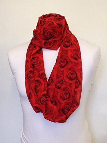 Small Red Roses design Infinity Scarf Jersey OR Chiffon Unisex Printed Loop Fashion Scarves
