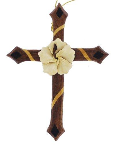 Hawaiian Wood Art Cross Ornament with Hibiscus - Center Hawaiian