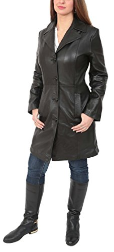 Ladies 3/4 Length Soft Leather Classic Long Single Breasted Coat Macey Black (Large) (Ladies 3/4 Length Leather)