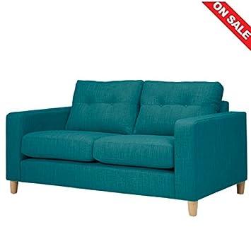Amazon.de: 2-Sitzer-Sofa Blaugrün Stoff klein doppelt Lazy ...