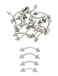 10pk of Steel Spiked Curved Barbells Eyebrow Belly Rings 316L Surgical Steel