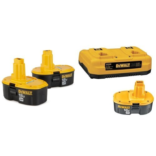 DEWALT DC9096-2 18-Volt XRP 2.4 Amp Hour NiCad Pod-Style Battery (2-Pack) w/ DC9320BP 7.2-to-18-Volt NiCd/NiMH/Li-Ion 1-Hour Dual Port Charger and XRP 18-Volt Battery Combo Pack by DEWALT