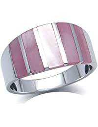 5-Stone Pink Mother Of Pearl Inlay White Gold Plated 925 Sterling Silver Ring