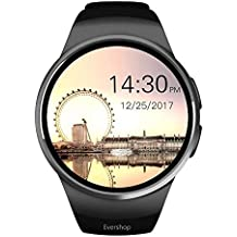 Evershop Smart Watch 1.5 inches IPS Round Touch Screen Waterproof Smartwatch Phone with SIM Card Slot, Sleep Monitor, Heart Rate Monitor and Pedometer for iOS and Android Device (Black)