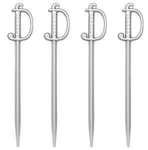 Soodhalter Regal Swords, 50 Silver Sword Picks, 3 Inch Plastic Food & Cocktail Toothpicks