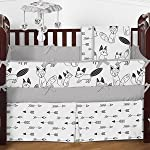 Sweet-Jojo-Designs-2-Piece-Grey-Black-and-White-Fox-and-Arrow-Teething-Protector-Cover-Wrap-Baby-Crib-Side-Rail-Guards