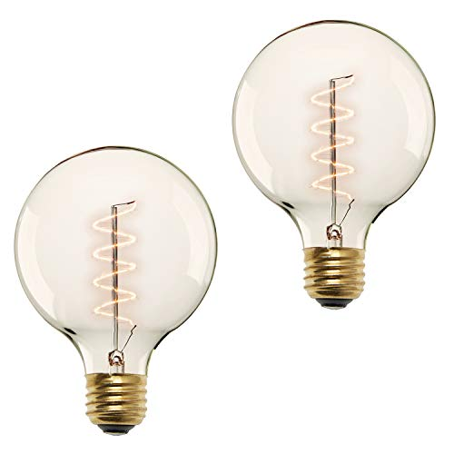 40W Edison Globe Light Bulbs - G40 Large Vintage Bulb, E26 Base, Spiral Filament, Fully Dimmable, Warm White, Incandescent, Red Hook Collection, Set of 2