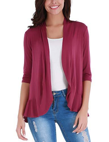 FISOUL Women's Long Sleeve Waterfall Hoodies Open Front Maxi Cardigan Sweater Wine Red XL