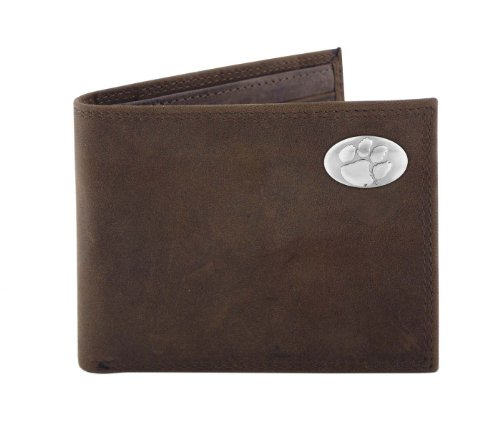 NCAA Clemson Tigers Light Brown Crazyhorse Leather Bifold Concho Wallet, One Size
