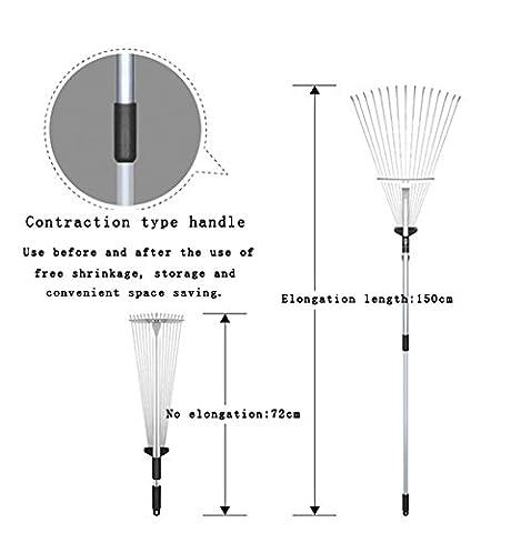 Layboo Adjustable Garden Leaf Rake - Expanding Rake - Expandable Head From 72 cm to 150cm - Adjustable Rake