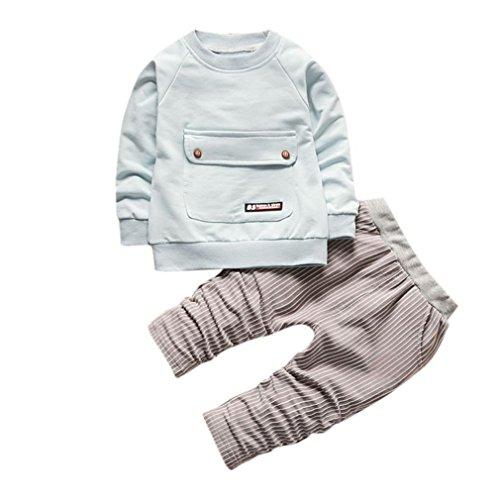 Lowprofile 2Pcs Tracksuits Sets Toddler Baby Boy Girls Sweatshirt Pullover Tops+Striped Harem Pants (1-4T) (2T (90/M), Light Blue)
