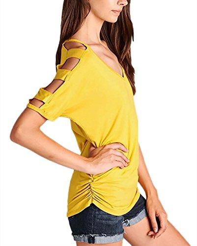 Black Knit Off Shoulder Stripes T-shirt ruching the back von