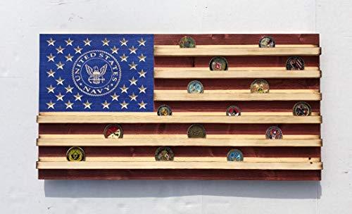 Medium NAVY Rustic American Flag Challenge Coin Display