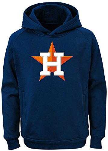 (Outerstuff MLB Youth 8-20 Team Color Polyester Performance Primary Logo Pullover Sweatshirt Hoodie (Medium 10/12, Houston Astros))