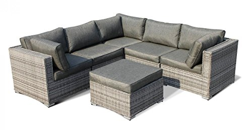 Outdoor Patio Furniture Rattan Wicker Sofa Corner Sectional Sets 6pcs Grey Cushioned FREE Outdoor Cover