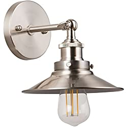Andante LED Industrial Wall Sconce Fixture - Brushed Nickel - Linea di Liara LL-WL407-BN