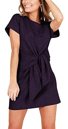 Womens Knot (MIDOSOO Womens Solid Color Short Sleeve Tie Knot Front Wear to Work Pencil Dress with Belt #2Purple M)