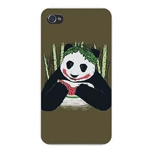 Apple Iphone Custom Case 5c White Plastic Snap on - Panda Bear Eating Watermelon in Rainforest w/ Bamboo
