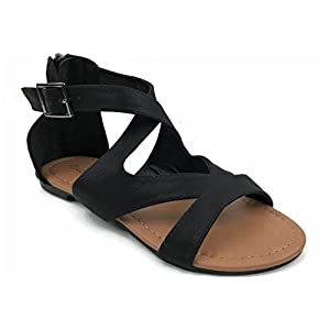 Top Moda Bonus-8 Women's Crisscrossed Gladiator Flat Sandals (10, Black)