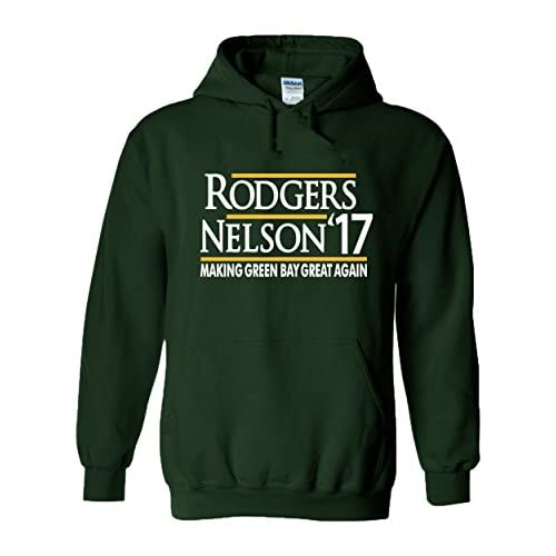 "top The Silo GREEN Green Bay Rogers ""Nelson 17"" Hooded Sweatshirt for cheap"