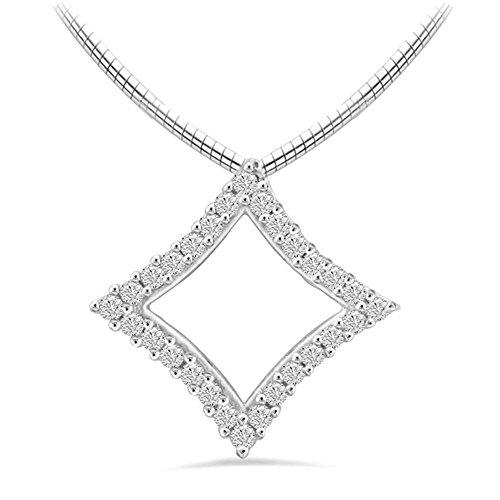 Or Blanc 14 ct Pendentifs Diamant en forme de carré, 0.11 Ct Diamant, GH-SI, 0.36 grammes.