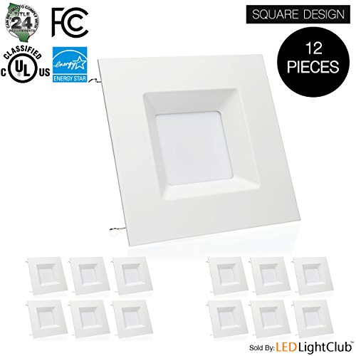 (12 Pack)- 6-inch LED Square Downlight Trim, 15W (100W Replacement), Square Recessed Light, Dimmable, 5000K (Day Light), 1040LM, ENERGY STAR, Retrofit LED Recessed Lighting Fixture by Parmida LED Technologies