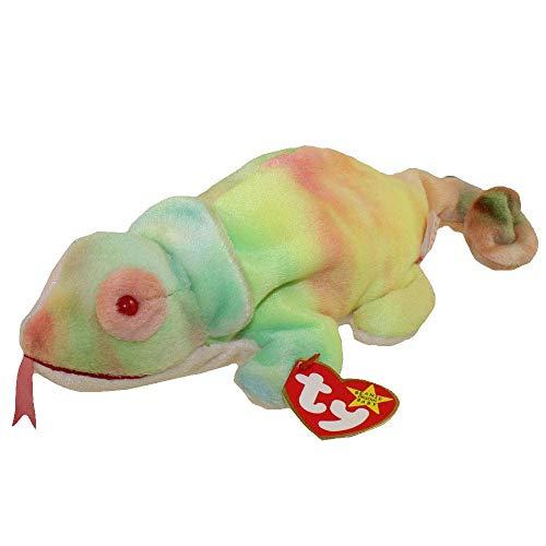 TY Beanie Baby RAINBOW the Chameleon tye-dye Iguana (with Rainbow tags, no frills on back)