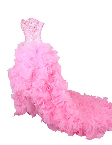 Dresstells Pink High Low Wedding Dress Prom Dress for Women Size 8