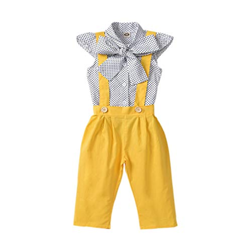 Unistylo 2PCS Girl Toddler Clothes Floral Suspenders Pant Set,Baby Girls Clothes Long Sleeve Shirt+Sleeve Overalls (6-12 Months, Yellow)