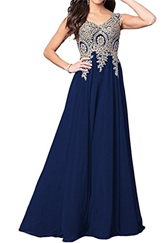 s Evening Party Long Prom Dress A Line V Neck Appliques D86 Vneck-Navyblue 4 (Beaded Stretch Prom Dress)