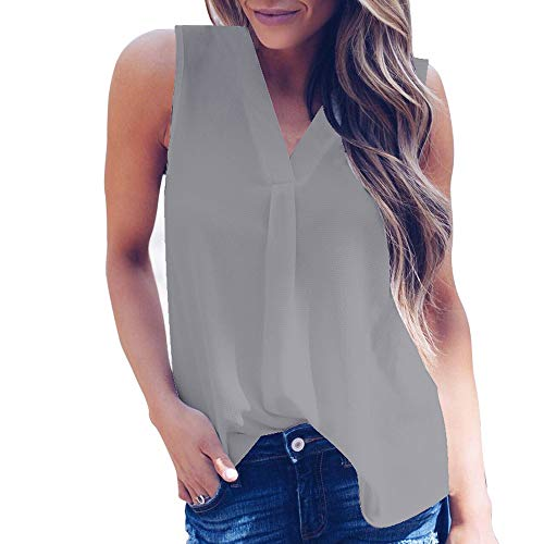 (Women's Sleeveless Chiffon Tank Top Summer V-Neck Hi-Low Hem T-Shirt Tunic Tops Blouse Shirts by Chaofanjiancai)