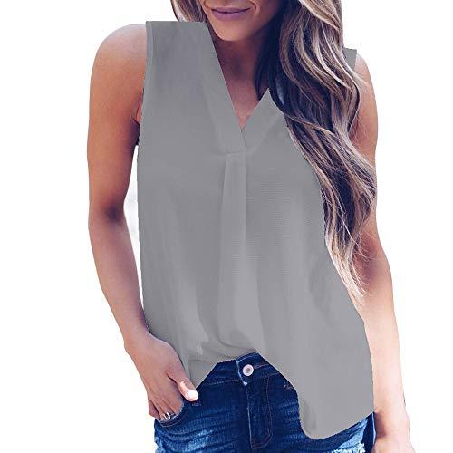 Women's Sleeveless Chiffon Tank Top Summer V-Neck Hi-Low Hem T-Shirt Tunic Tops Blouse Shirts by Chaofanjiancai