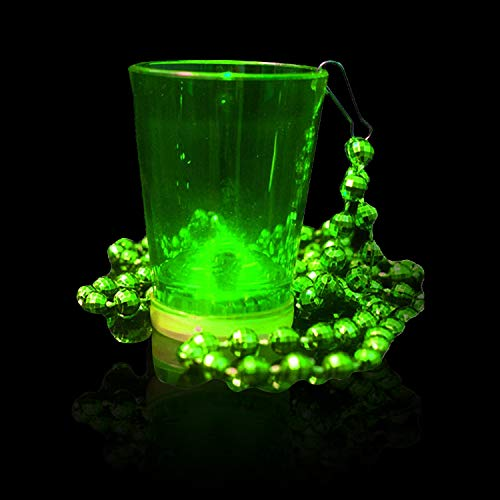 Fun Central (AU071), 6 Pcs 2 Oz Green LED Shot Glass with Beads, Light Up Shot Glasses, Glow in The Dark Shot Glass Necklace, Party Favor and Decoration for St. Patrick, Mardi Gras, and Night Parties ()