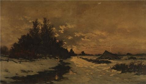 Oil Painting 'Joseph Theodore Coosemans - Winter's Day In The Kempen, 19th Century' Printing On Perfect Effect Canvas , 20x34 Inch / 51x88 Cm ,the Best Basement Decor And Home Decor And Gifts Is This Beautiful Art Decorative Canvas Prints (Knife Party Halloween Intro)
